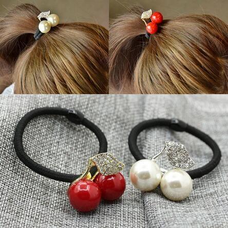 Moda Bonito Meninas Mulheres Acessórios Para o Cabelo Vermelho Branco Simulado Pérola De Cristal Folha De Cereja Deixa Elástico de Cabelo Corda Bandas De Borracha GB554