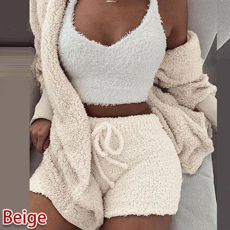 Frauen Art und Weise Strickjacke Jahrgang 2 teiliges Set Sweater Plüsch mit Kapuze Mantel + Shorts Set Nachtwäsche warm Nachtwäsche 2ST Passende Kleidung