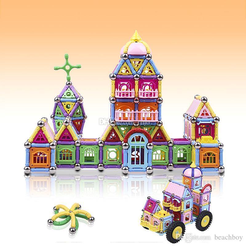 Manyetik yapı taşı 438 ADET çocuklar eğitici bulmaca oyuncaklar çocuk saray inşaat yapı yılbaşı hediyeleri Toksik Olmayan BPA Ücr ...