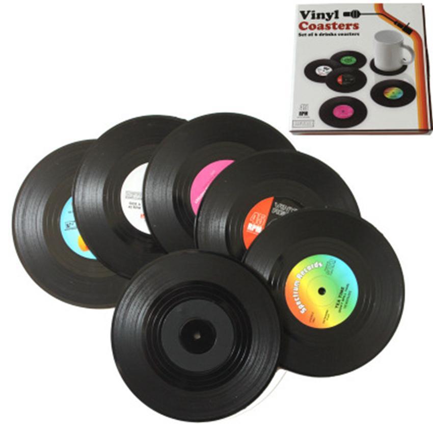 Moda caliente 6 Unids / lote Inicio Mesa Estera de la taza Decoración creativa Café Bebida Mantel Spinning Retro Vinyl CD Record Bebidas Posavasos ZZA1102