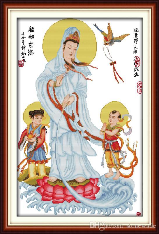 Kwan-yin dà benedizioni Felicità pittura per arredamento, ricamo a punto croce fatto a mano Set di ricami contati stampa su tela DMC 14CT / 11CT