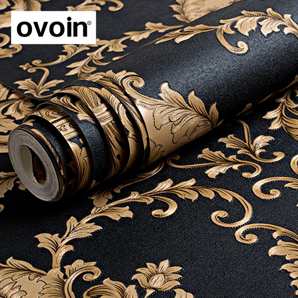 ainting Supplies & Wall Treatments Wallpapers High Grade Black Gold Luxury Embossed Texture Metallic 3D Damask wallpaper for wall Rol...
