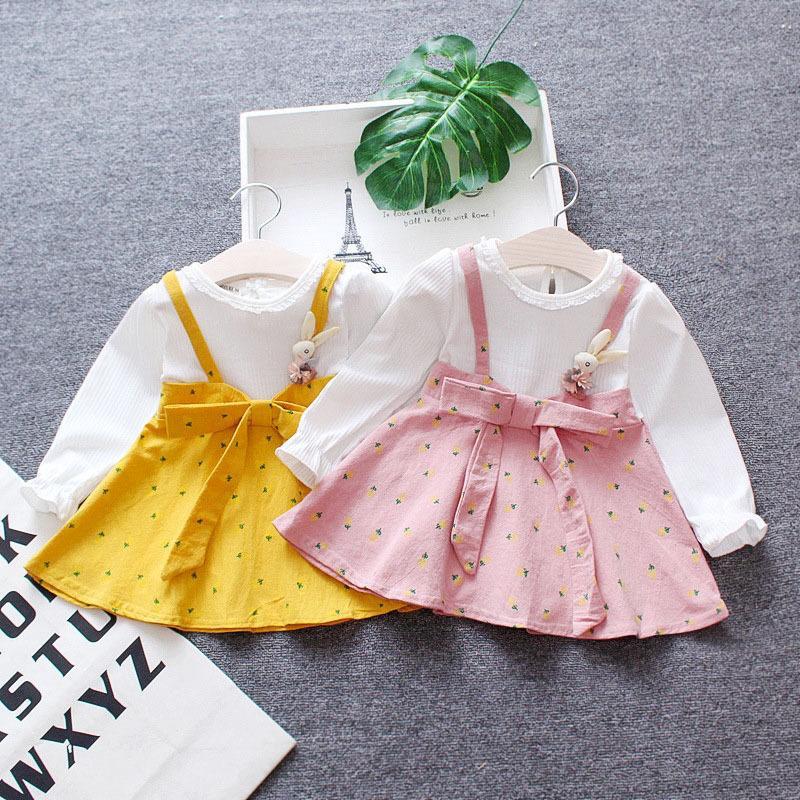Meninas da criança Vestir Infantil Crianças Roupas Infantil Recém-nascidos Vestido de Manga Longa O Pescoço Do Bebê Vestido De Um Ano De Idade 6 12 24 36 Meses J190619