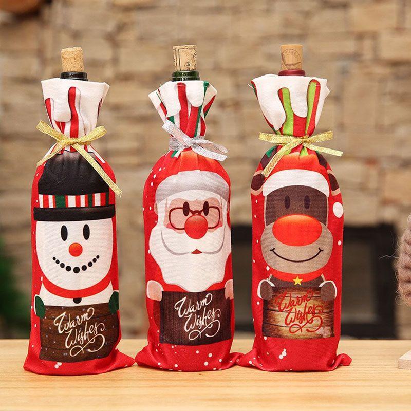 Fiesta determinada de la manera 3D Impreso vino tinto Conjunto de dibujos animados de impresión cubiertas de botellas vector de la Navidad Decoración Creativa Champagne