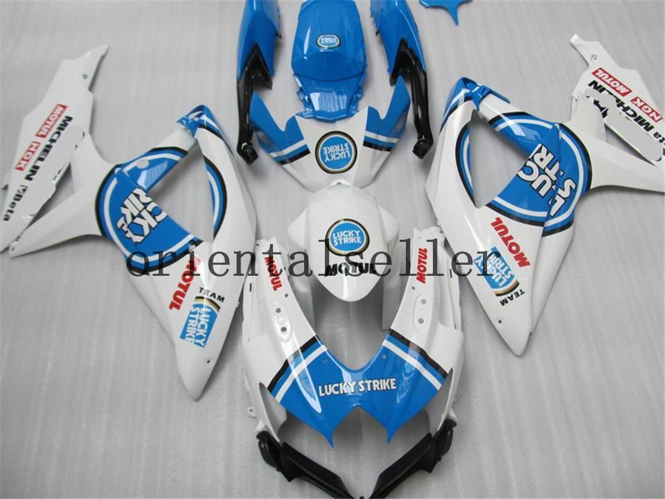 Хорошо для SUZUKI GSX-R 600 750 GSX R750 R600 GSXR600 08 09 10 GSXR750 GSXR600 K8 GSXR750 2008 2009 2010 синий черный белый обтекателя комплект AA22