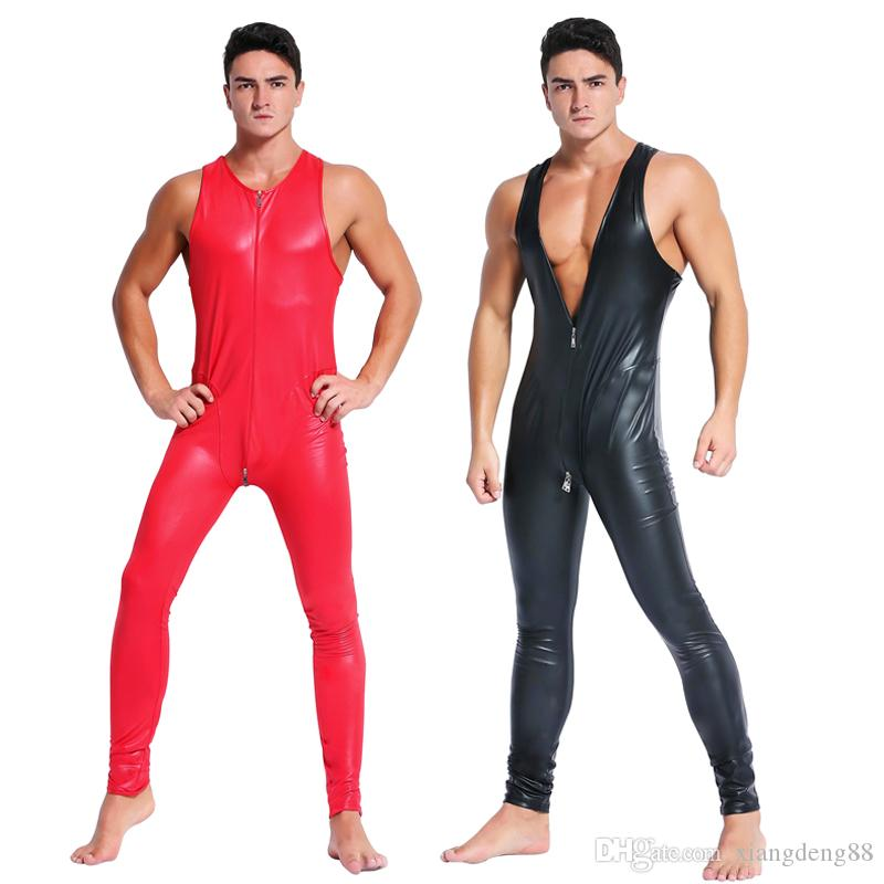 Men/'s Faux Leather Rubber Zentai Catsuit Zipper Lycra Bodysuit Underwear Costume