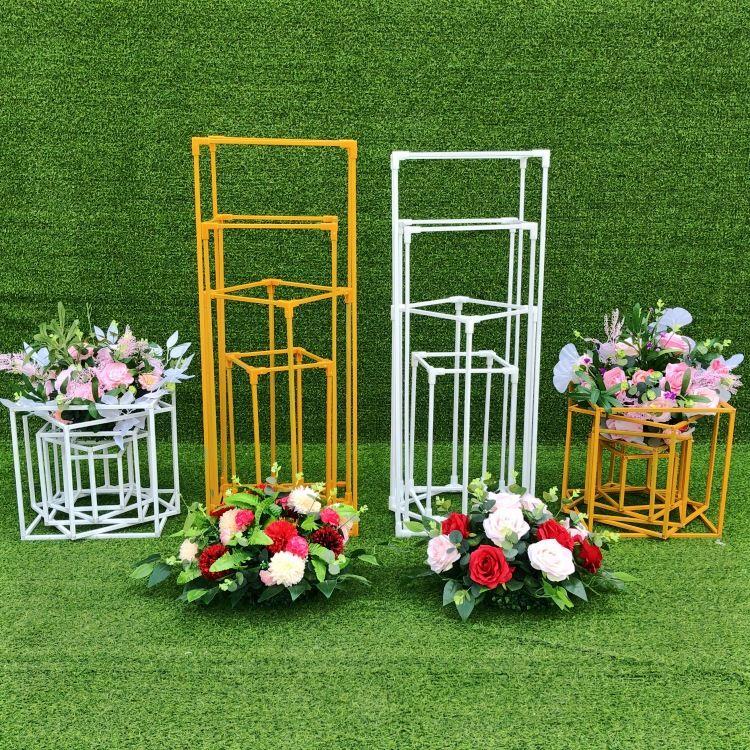 4 pcs pavimento vasos flores vaso coluna stand metal pilar estrada chumbo centro de casamento Centerpieces rack festa de evento decoração de natal