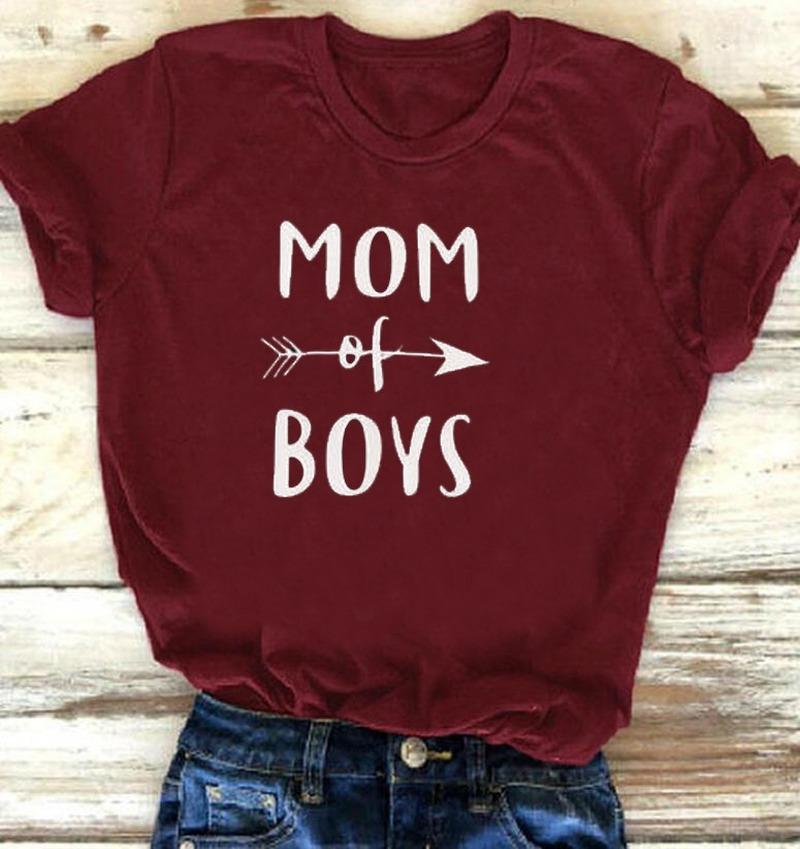 MOM OF BOYS Letter Print T Shirt Women Short Sleeve O Neck Loose Tshirt 2020 Summer Women Tee Shirt Tops Camisetas Mujer