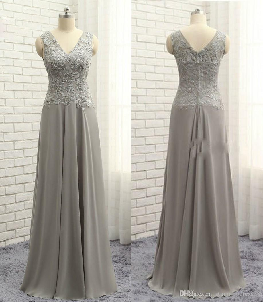 Modern Sliver V neck Mother of the Bride Groom Dresses Cheap Chiffon Backless Applique Lace Sleeveless Long Cheap Evening Formal Gowns