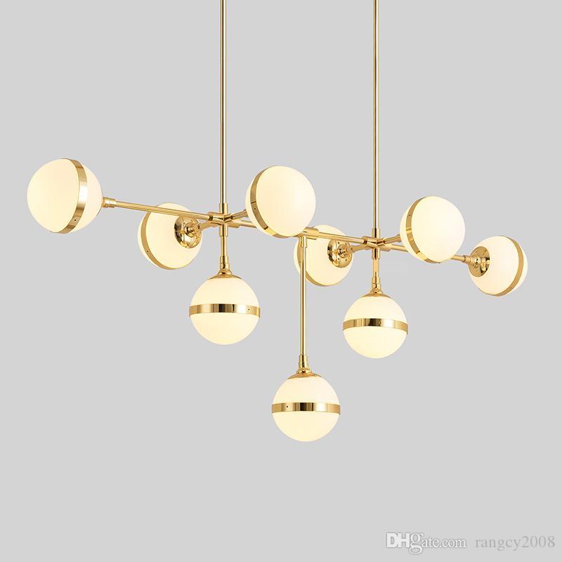 American Loft RH Retro Metal Round Led E27 Chandelier Lustre Luminaria for Living Room Glass Shades Gold LED Chandelier Lighting