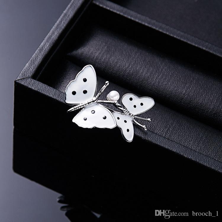 European White Two butterflies pearl brooch For Party Women Lover Scarf Clothing Gift Fashion Enamel Insect Creative Jewelry Brooches Pins