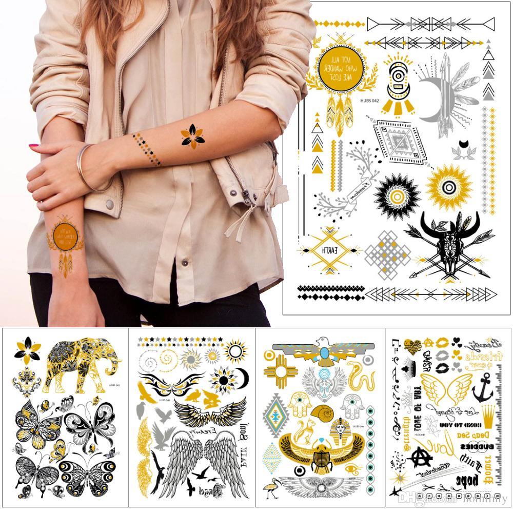 Nova Moda de Metal Ouro Etiqueta Do Tatuagem Boho Henna Flor Asa de Cadeia de Elefante Águia Dreamcatcher Designs Temporária de Transferência de Água Flash Tattoo