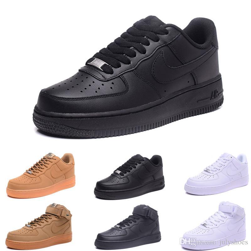 Compre 2019 Nike Air Force Oen 1 Más Nuevos Hombres Altos Mujeres Bajo  Negro Blanco Trigo Uno Zapatos Malla Uno Para Mujer Diseñador De Deporte  Correr ...