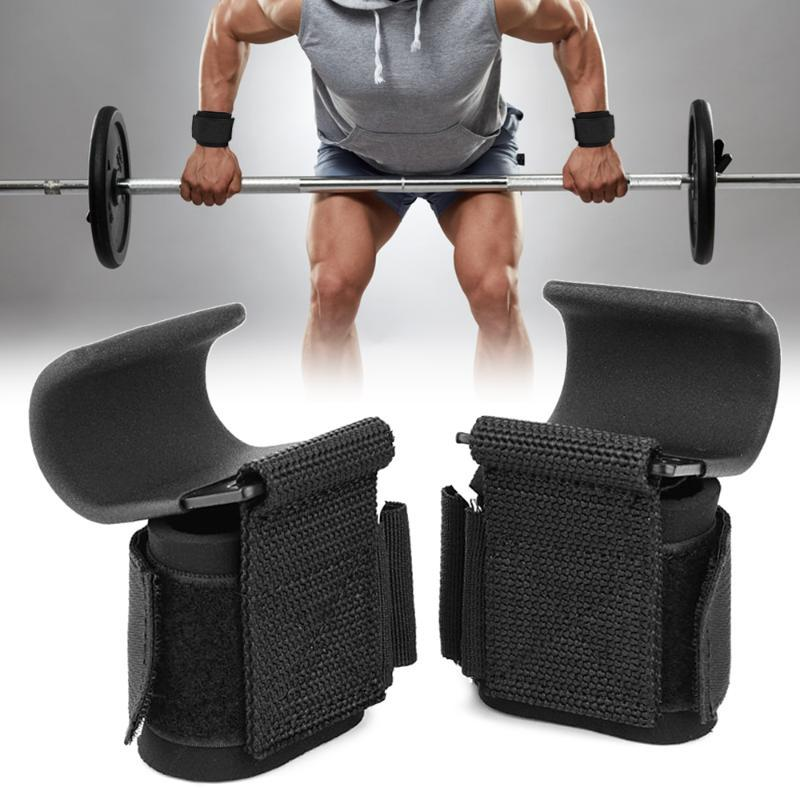 A Pair Weightlifting Wrist Wraps Hooks for Gym Exercise Wrist Support Brace for Men Women Indoor Exercise Protective Equipment