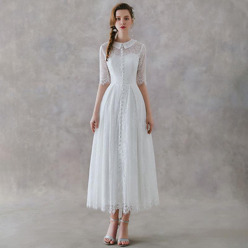 Vintage Dentelle Tulle plage thé longueur robe de mariée avec demi-manches 2020 d'été Une ligne Robes de mariée