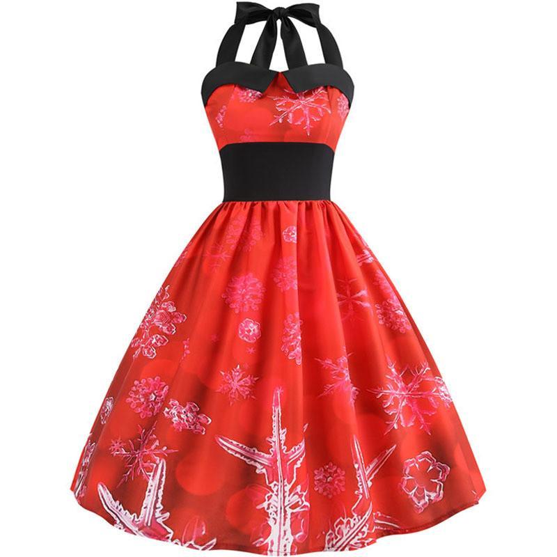 Nouveau Robe d'été Femmes Halter Imprimer Vintage Robes Taille Plus de flocon de neige Robe de soirée de Noël Rockabilly Balancez Midi Vestidos