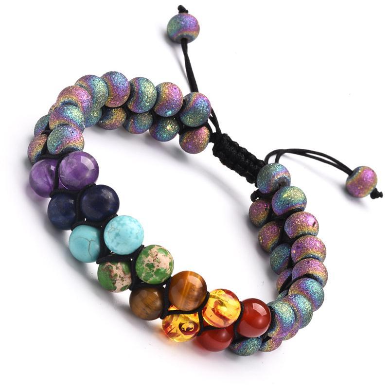 Gratuit DHL 8 mm naturel pierre de lave Chakra coloré Bracelet 7 Bracelet pour femmes couches doubles réglable braclets Hommes Charm Bijoux M191R A
