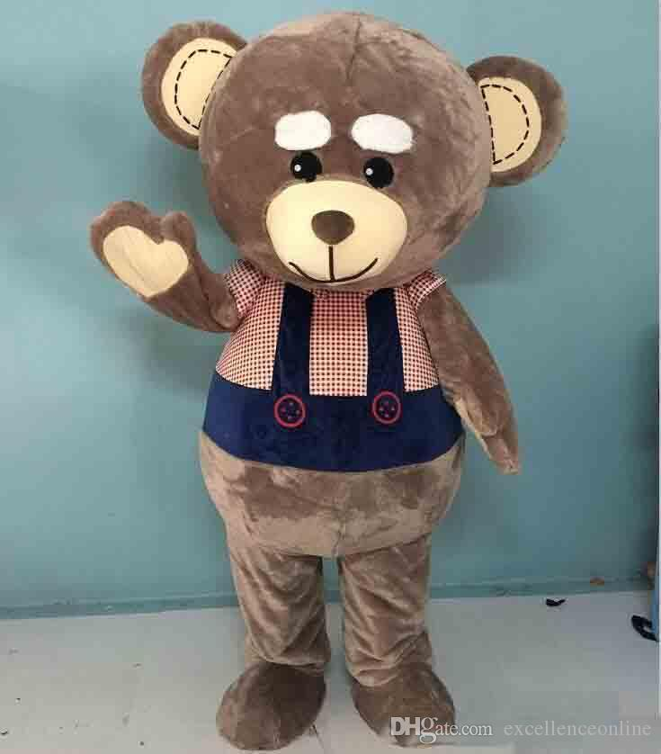 2019 High quality hot big head big belly brown teddy bear mascot costume for adult to wear