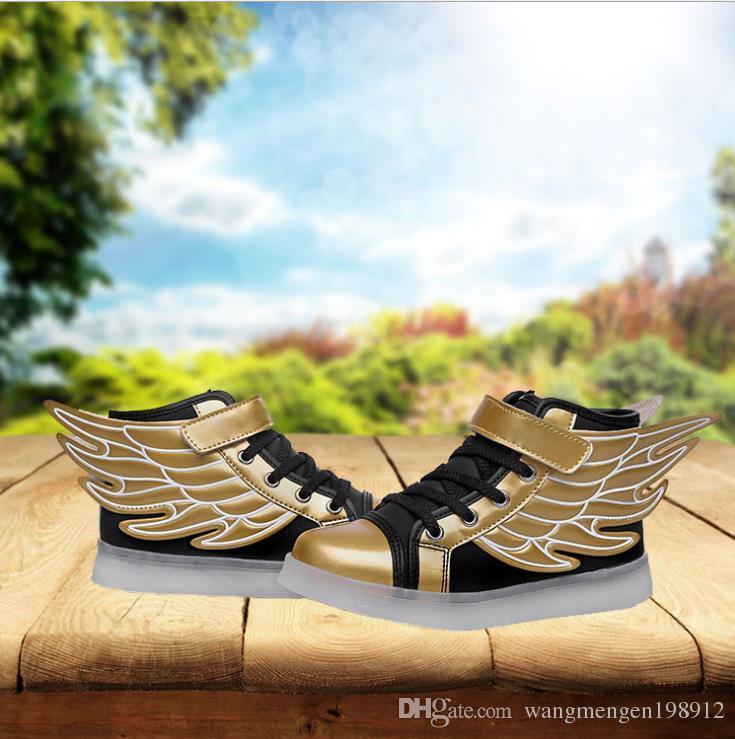 2017 neue authentische Mädchen Flügel Schuhe LED leuchtet Schuhe 6 wiederaufladbare 7 bunte 8 leuchtende leuchtende Schuhe 9 Jahre alt