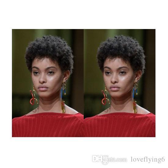 las mujeres peluca encantadora nuevo peinado brasileño Americ africana de pelo corto rizado rizado natural de simulación de cabello humano peluca corta rizada para dama