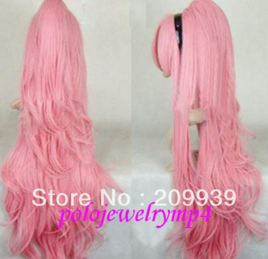 LL kk 00187 Cosplay Vocaloid Long pale pink Wavy Wig + Clip On Ponytail
