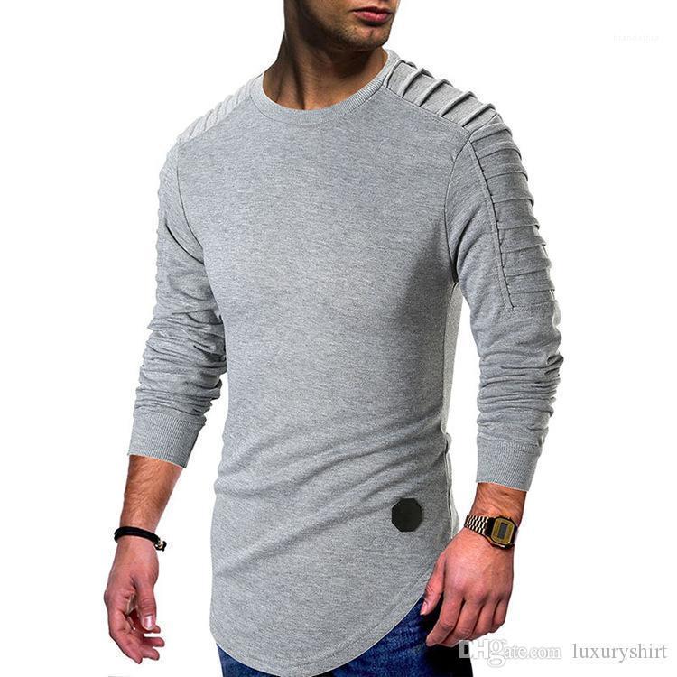 T-shirt Longline courbe Casual T-shirts manches longues Hauts Vêtements Drapée Hommes Printemps