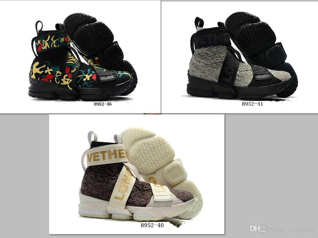 Athletic KITH LeBorn15 Lifestyle Kings Crown Black MultiColor Men Basketball Shoes 15s City of Angels White Sneakers