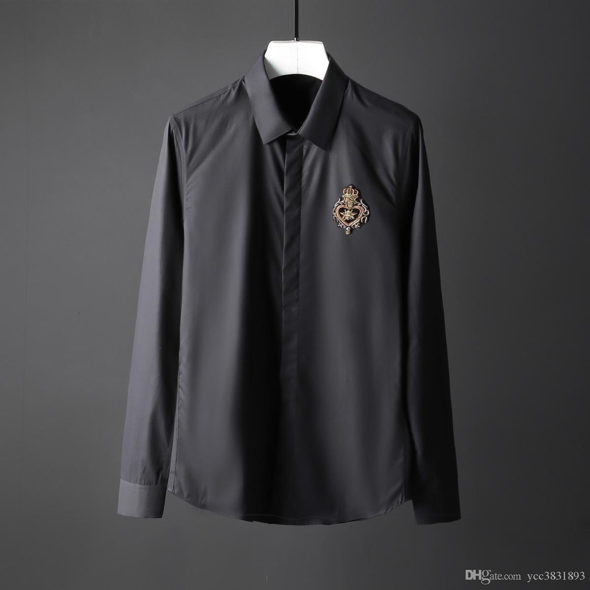 Newest Crown Bee Camisa Masculino slim plus size 4XL Non-iron setting Men Dress shirt fashion Handmade men casual shirt