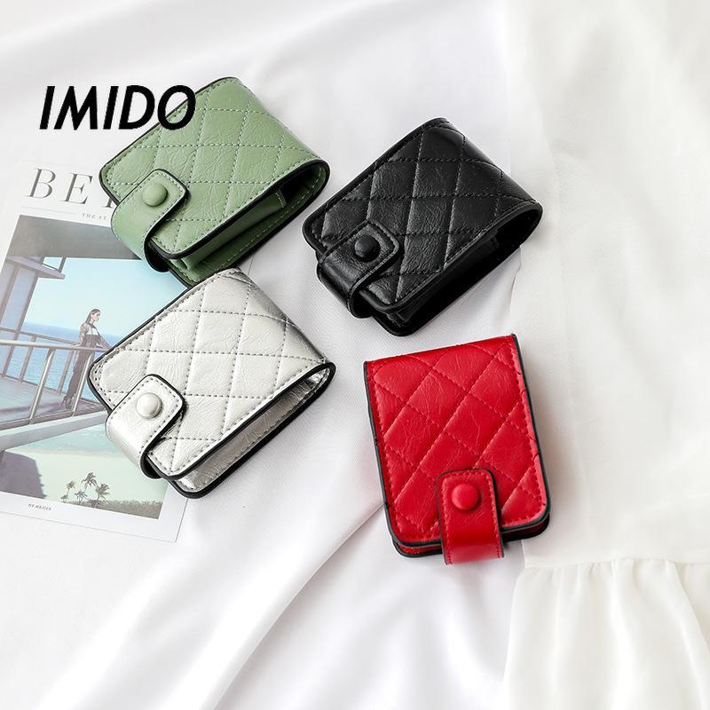 Ayna ızgara ruj çantası küçük taşınabilir PU manyetik düğme açma mini depolama çantası makyaj kutusu ile yüksek kaliteli duygusu