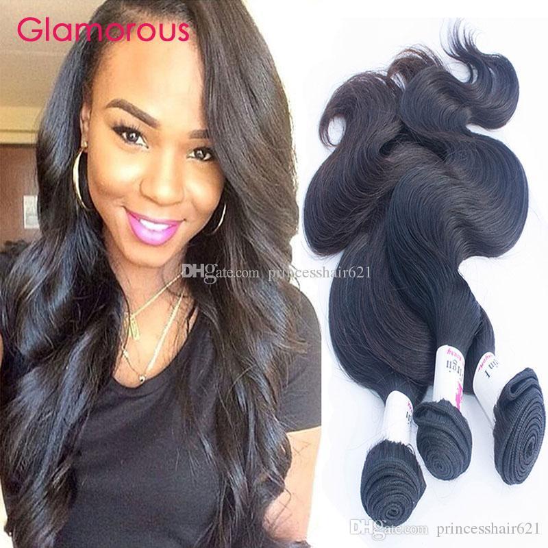 Glamour Peruvian Hair Theft 8-34 pouces Body Wave Cheveux Humains 3 Bundles Haute Qualité Malaisienne Indienne Brésilienne Extensions de cheveux ondulés