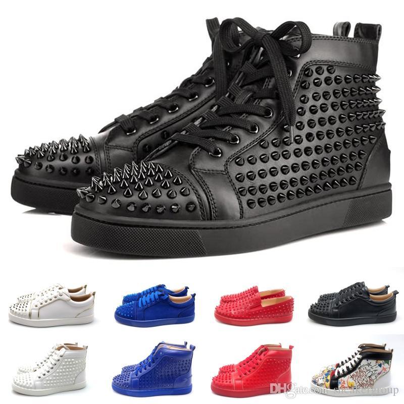 Стилист моды Red Bottoms обувь шипованных SpikesTriple Черный Белый Красный плоский Повседневная обувь Девушки с блестками партии платформы стилиста обувь