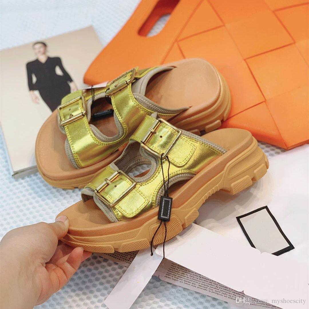 New designer slides silver gold metal leather slides white cowskin real leather platform designer sandals
