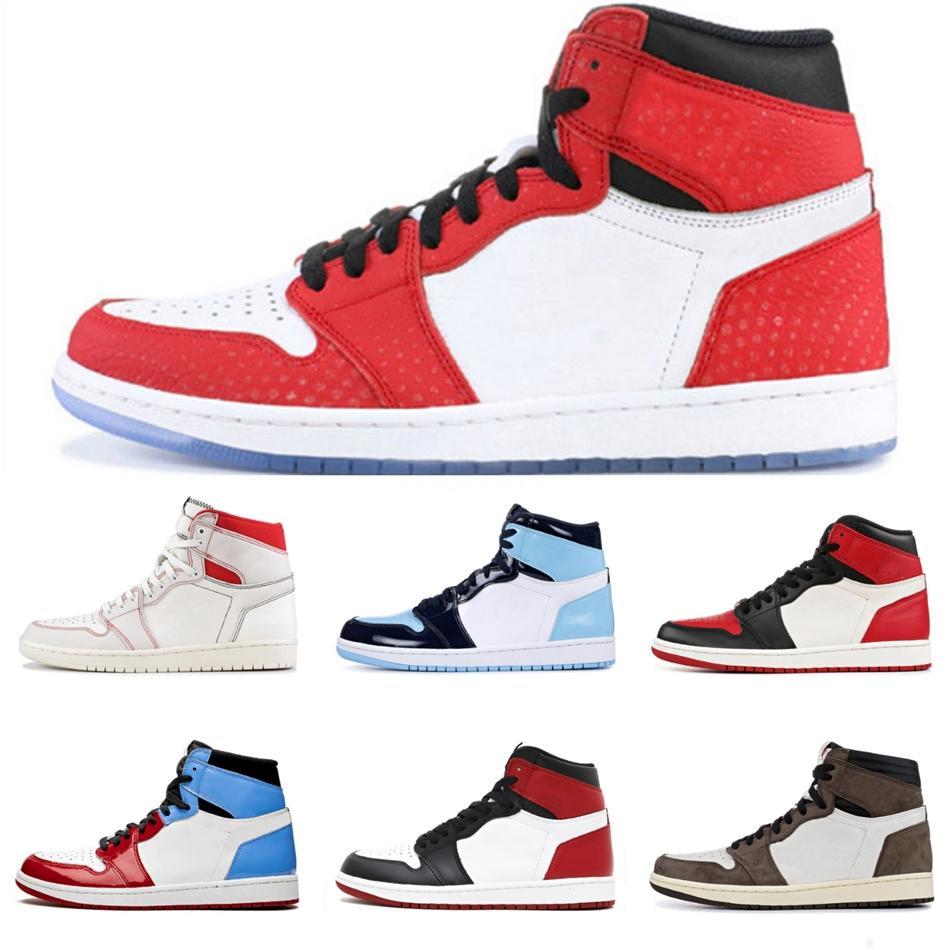 1 Jumpman haut Travis Scotts bas sans Peur Obsidian Hommes Chaussures de basket Spiderman Unc 1S Chicago Banned Bred Toe Black Men Sport Desi # QA926