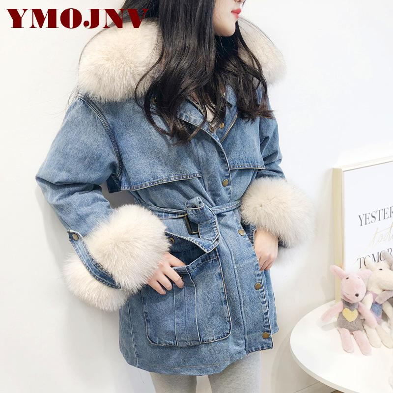 YMOJNV Winter Women Jacket Denim Down Parkas Natural Fur Collar White Duck Down Liner Warm Coat Female Medium Long Outerwear