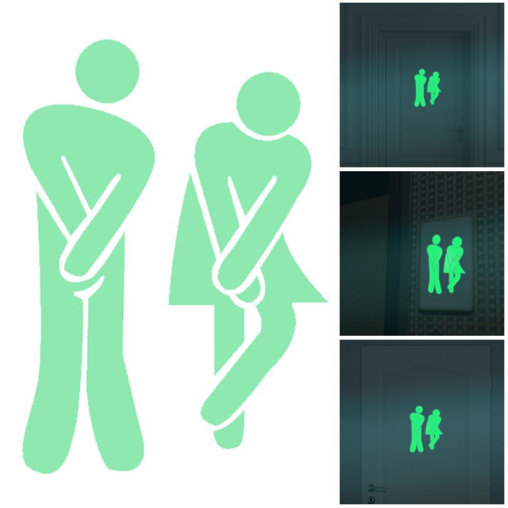 Aydınlık WC Duvar Tuvalet Sticker Su Geçirmez Kapı Işareti Karanlık Floresan posteri Çıkartmalar Banyo Tuvalet Çıkartmalar