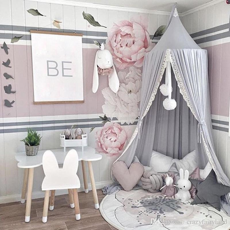 Nordic Canopy Princess Girls Lace Mosquito Net Round Dome Bed Canopy  Chiffon Mosquito Net Curtain For Kids Girl Room Comfort Decoration Mosquito  ...