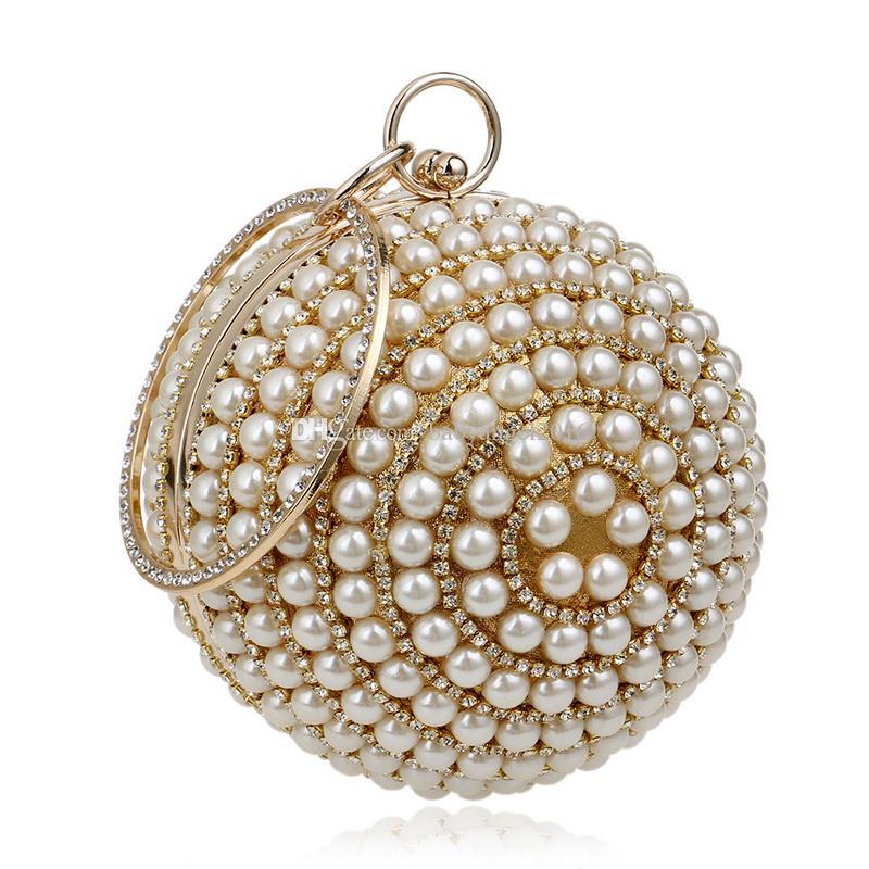 Neue Art-Frauen-Korn-Handtaschen-Kreisball 5 färbt Partei-Hochzeits-Abend-Beutel-Diamant-Schulter-Beutel
