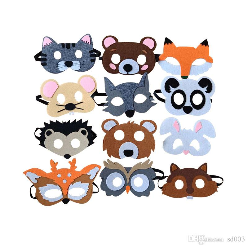 Maske renkli Karikatür Modelleme Maskeleri Keçe Kedi Ayı Güzel Fox Fare Yama Çeşitli Stil Ile Yüksek Kalite 1ls J1