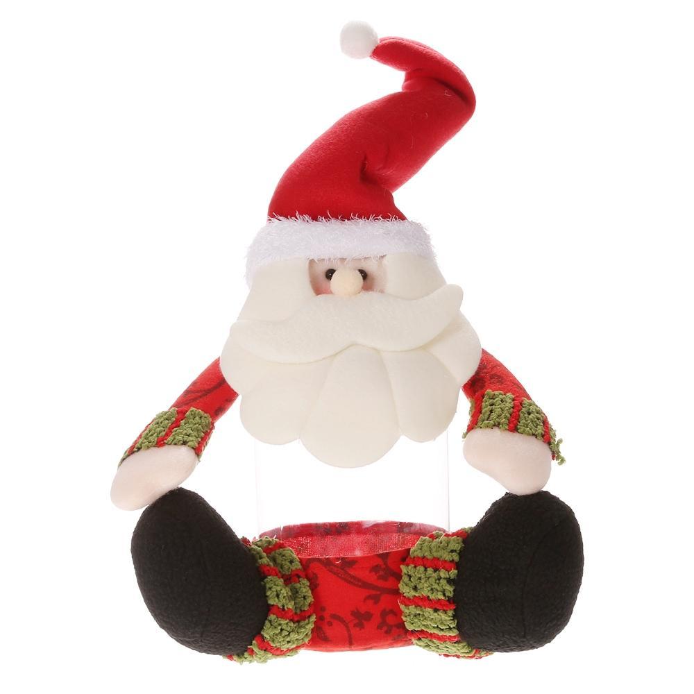 حار جديد Festnight عيد الميلاد سانتا كلوز كاندي زجاجة جرة مربع من البلاستيك الحلوى مع غطاء عيد الميلاد زخرفة الجدول الديكور سطح المكتب