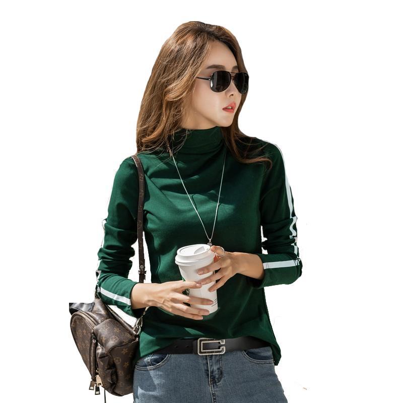 Blusa T 셔츠 여성 Turtleneck 여성 패션 두꺼운 면화 Bottoming 셔츠 숙녀 긴팔 T- 셔츠 탑 여성 온라인