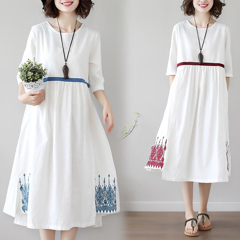 Casual Cotton Line White Dress Women Summer cloth 2020 Midi Dress Ladies Vintage Vestidos embroidery Patchwork Plus Size