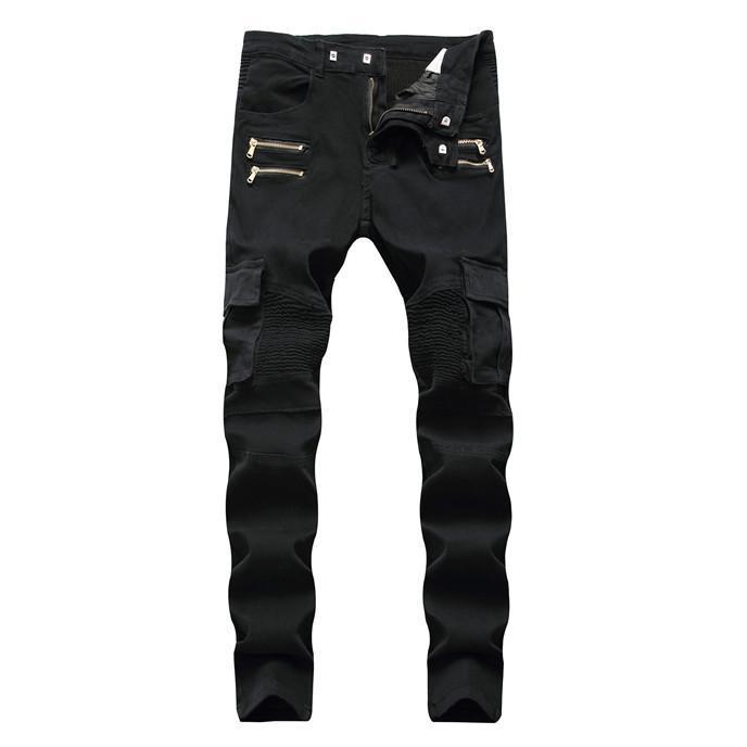 Verdes Jeans Mens Hetero Jeans Zipper Exército plissadas com bolsos Mens calças compridas Moda Mens Motorcycle