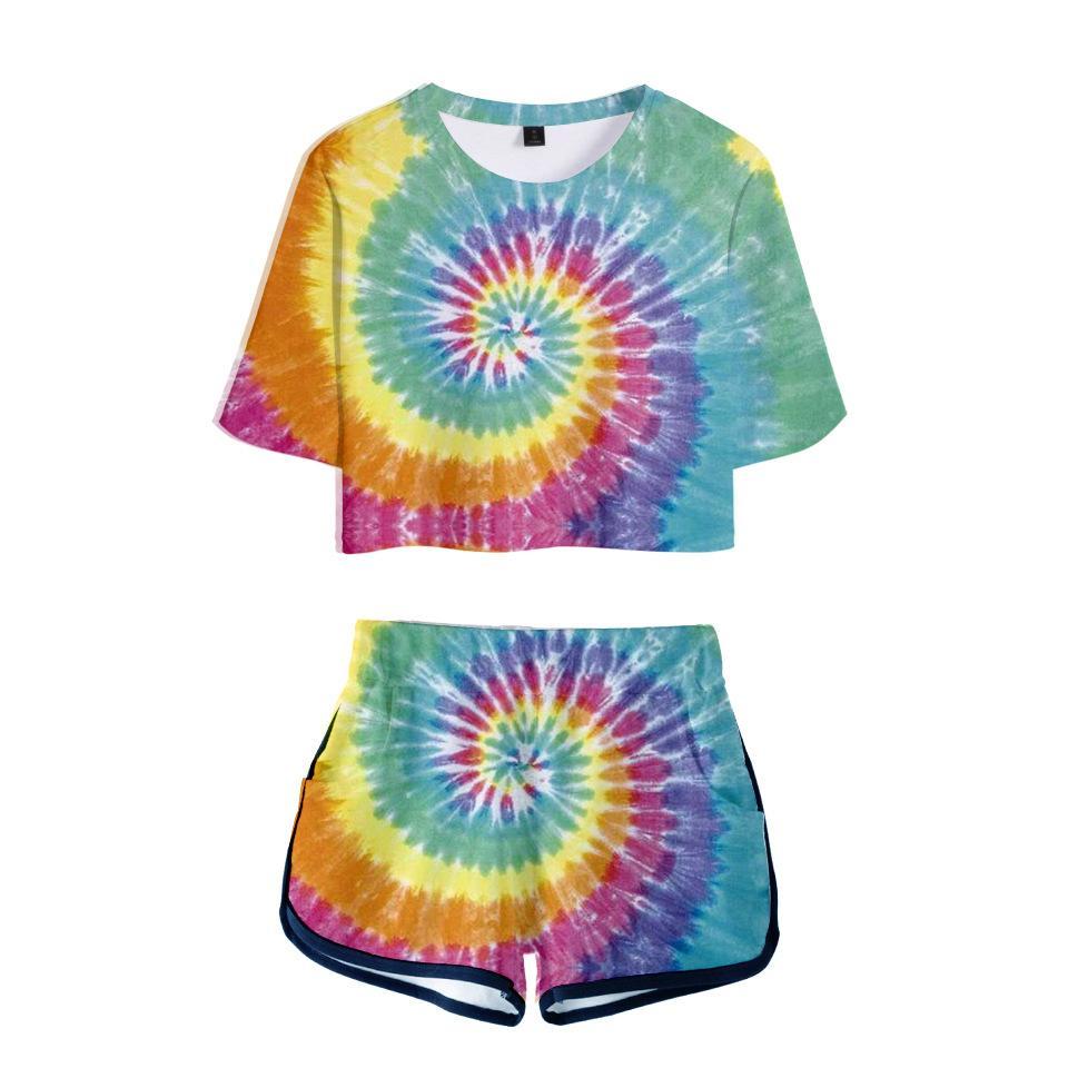 Mujeres Trajes 2019 2 mujer piezas de vestimenta del tinte del lazo de impresión en 3D del juego de la camiseta de las mujeres pantalones cortos de verano de 2 pedazos Top Femme Ensemble