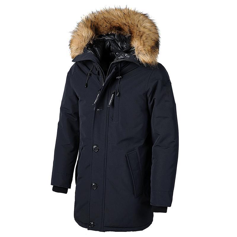 Мужские бренд зимний из искусственного мехового воротника длинный толстый хлопок с капюшоном Parkas куртка пальто мужские карманы для паркеты водонепроницаемый куртка Parka Men T201029