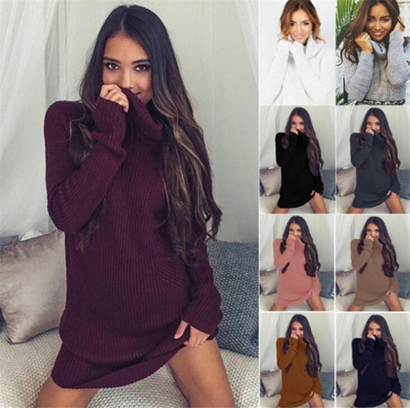New Knitted Slit Women Sweater Dress Turtleneck Long Sleeve Dresses Women Fashion Autumn Winter Knit Bodycon Dress