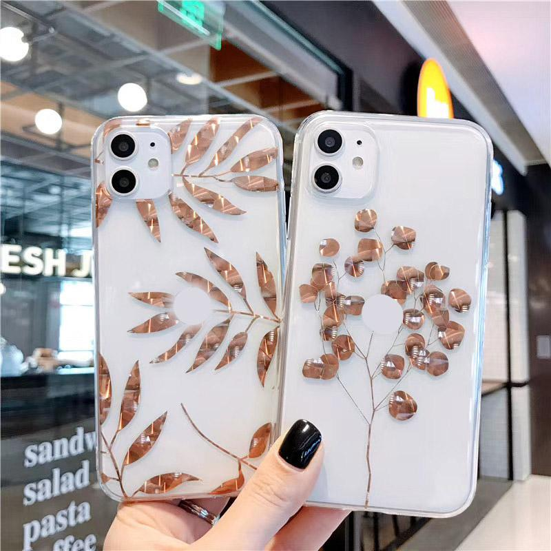 Rose Gold Plating Art Leaves tree Phone Case For iphone 11 Pro Xs MAX 6 6s 7 8 Plus Shining Plant Tree Transparent Back Cover