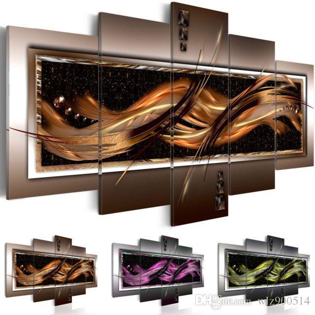 Moda Arte Da Parede Da Lona Pintura 5 Peças Marrom Verde Roxo Abstrato Linhas Luminosas Moderna Decoração de Casa, Escolher A Cor E Tamanho Sem Moldura