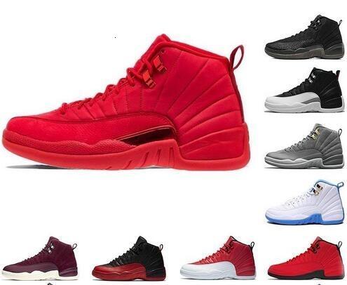 Mens 12s zapatos de baloncesto Gimnasio Rojo Burdeos Michigan 12 marina Bulls El tamaño Maestro Juego de la gripe zapatillas de deporte de lana de taxi entrenadores 7-13