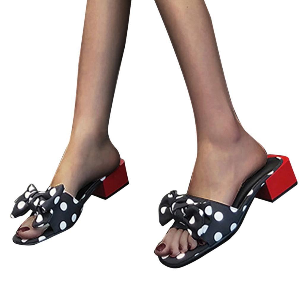 SAGACE donne Peep Toe Casual Tacchi del nodo dell'arco Pot quadrati Estate Slipper Infilare traspirante Summer Beach Sandals Shoes X1217