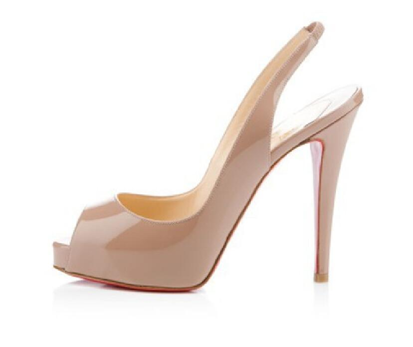Klasik Kırmızı Alt Yüksek Topuklar Platformu Ayakkabı Çıplak / Siyah Patent Deri burnu Kadınlar Elbise Düğün Sandalet Ayakkabı boyutu 34-41 pompaları